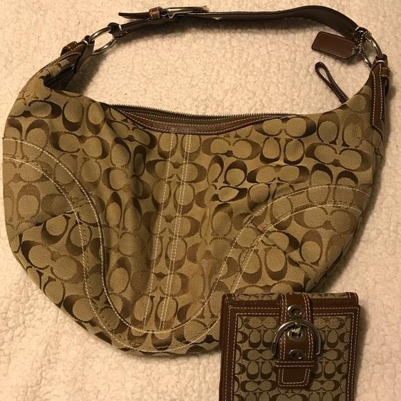 Coach Handbags - Coach Signature Shoulder Bag & Wallet